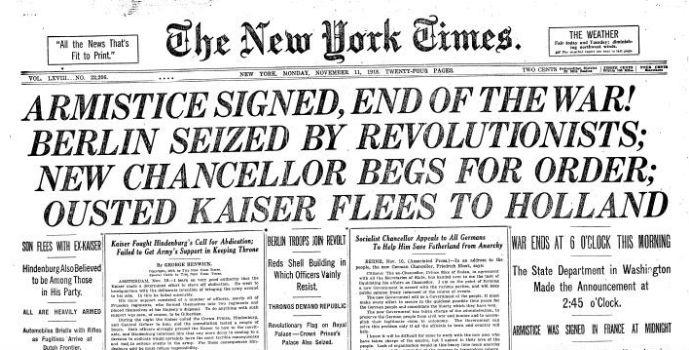 Portada del New York Times con el anuncio del fin de la Primera Guerra Mundial