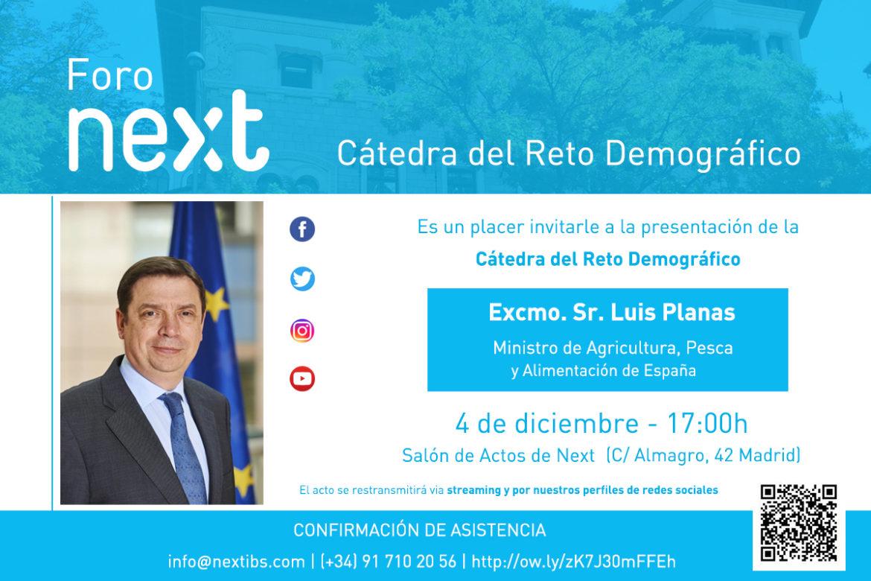 Invitación Foro Next Reto Demográfico con Luis Planas