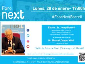 Josep Borrell hablará de la situación actual de Europa en Foro Next